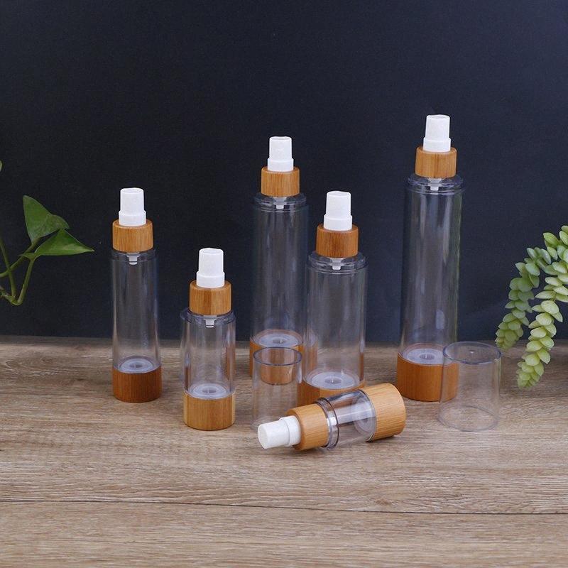 20/30/50/80/100 / 120ml contenitore cosmetico pompa spray bottiglia vuota con Eco-friendly Bamboo Cap cpXo #