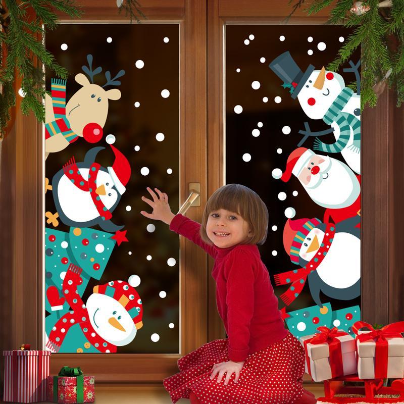 2021 de gran tamaño Feliz Navidad pegatinas pared de moda de Santa Claus ventana de decoración de interior de vinilo PVC Año Nuevo Decoración extraíble