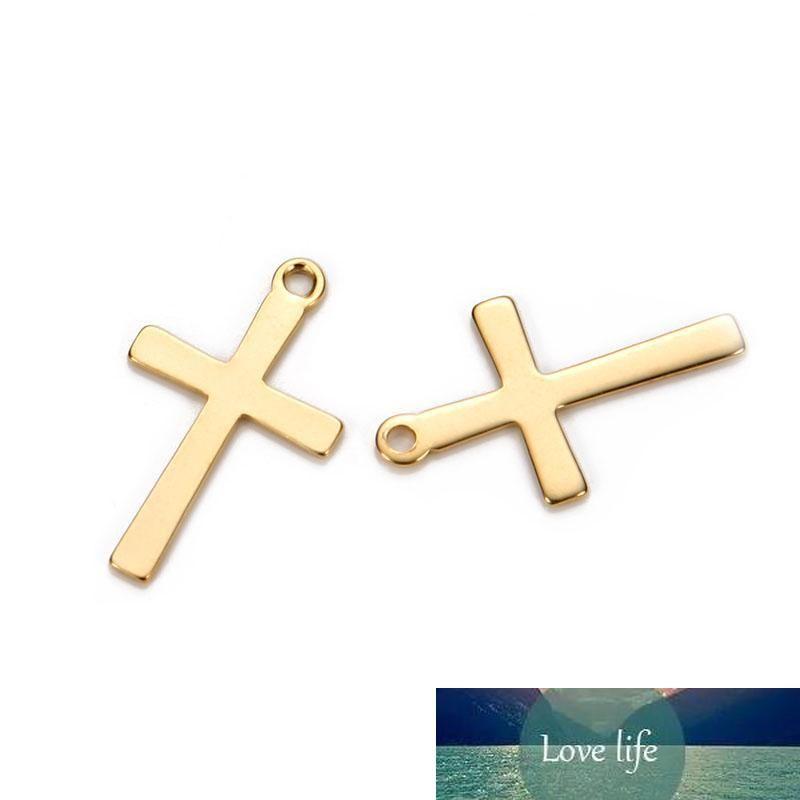 50PCS 12 * 20 mm de acero inoxidable Cruces encantos ajuste encanta el collar flotante crucifijo colgante hecho a mano DIY joyería que hace