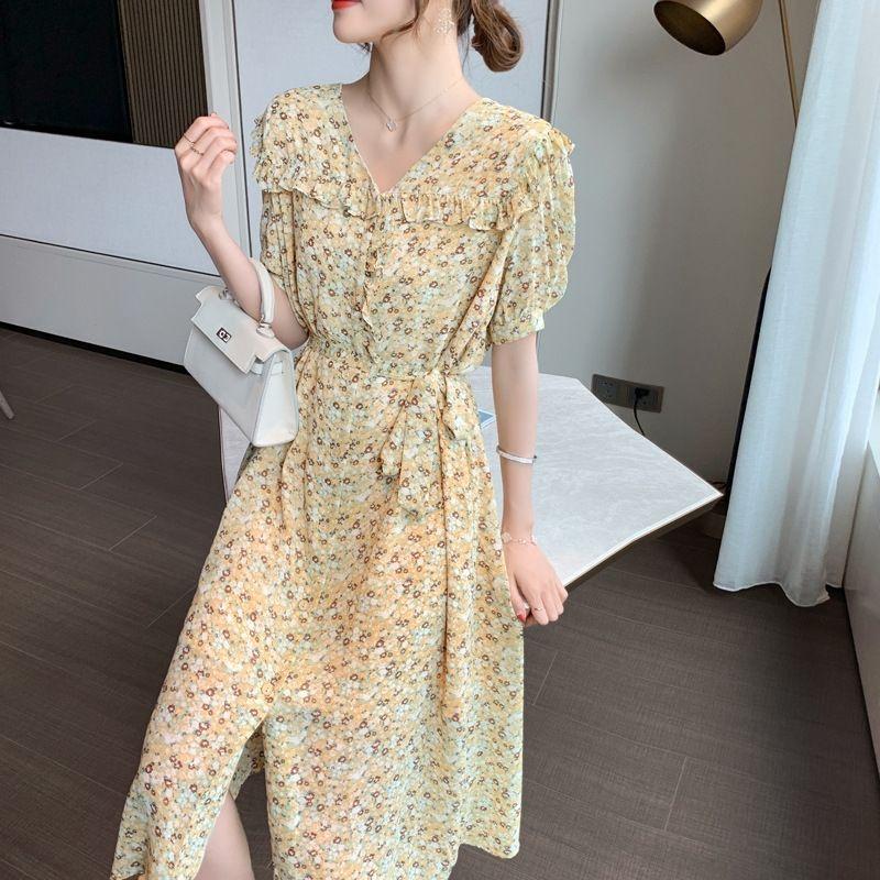 nuevo máximo de vestir de las mujeres del vestido floral de la gasa 2020 francesa elegante de adelgazamiento verano F4fQX V-cuello