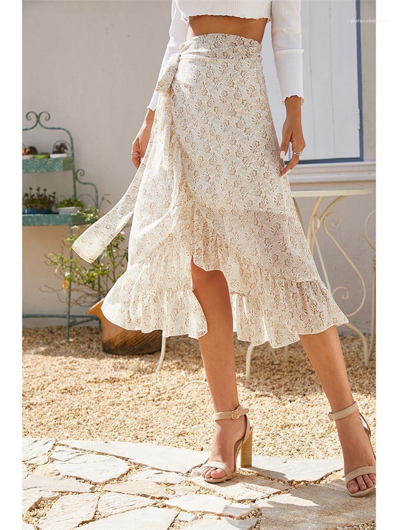 Motivo Gonne Moda floreale Spalato gonna con i telai casuale Natural Color Metà di-Vitello asimmetrico Gonne progettista delle donne