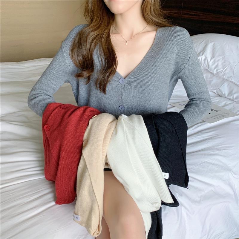 stile vgDVA New coreano capispalla con scollo a V giacca corta pelo corto a maniche lunghe lavorato a maglia il cardigan sottile Internet Celebrity Piccolo cappotto femminile sciolto