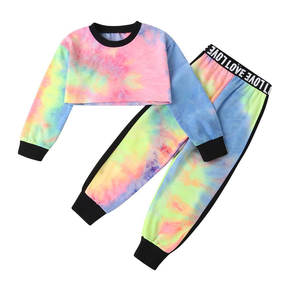 Детская одежда девочек Tie Dye одежды детей Высокий талии длинные рукава Tops + письмо брюки 2pcs / наборы весна осень Бутик Одежда для новорожденных Наборы