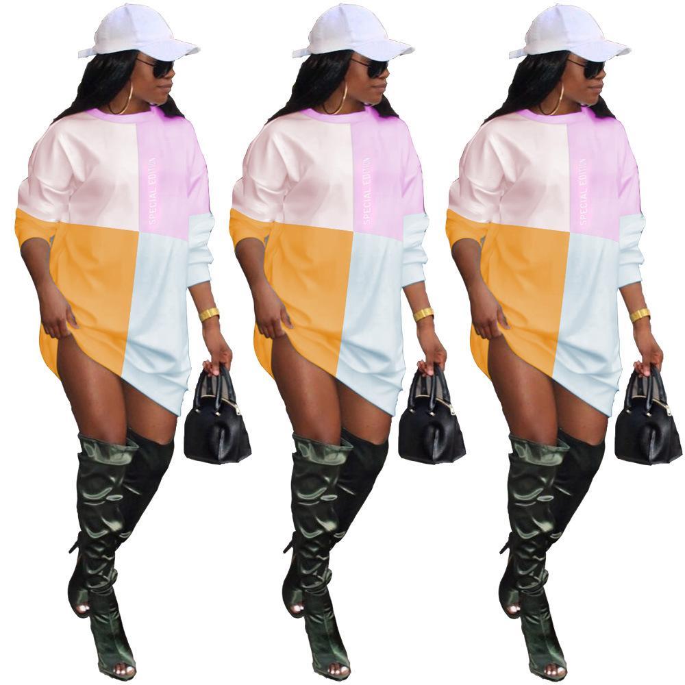 Осень Зима с длинным рукавом O-образным вырезом Тонкий Женщины платье Мода Лоскутная Письмо Печать Толстовка Толстовки Платья Розовый S M L XL XXL
