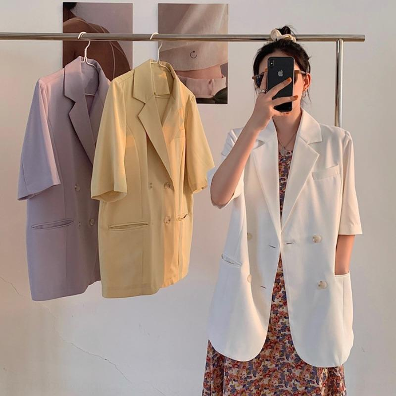 Lady Fox Small suit women's jacket Korean style thin vertical casual suit sun-proof jacket summer loose mid-length short sleeve DkxIQ