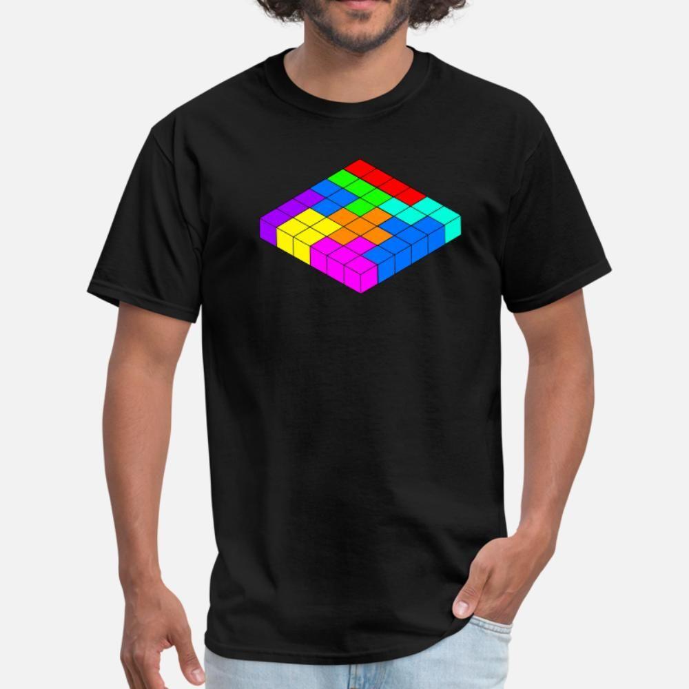Blocs de couleur Cubed t hommes shirt personnalisé manches courtes, plus la taille 3XL Kawaii Summer Style Intéressant bâtiment chemise Kawaii