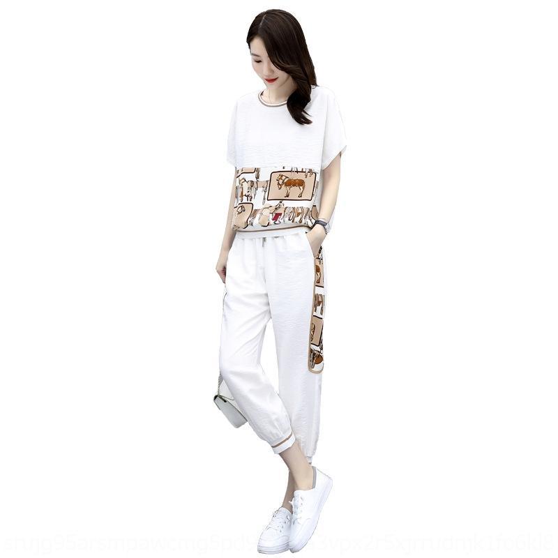 slkfJ HoHpw Sports beiläufige Klage der Frauen 2020 Sommer und Stil neue Hose knöchellangen Hose zweiteilige lose koreanische Hosen kurze Ärmel fas