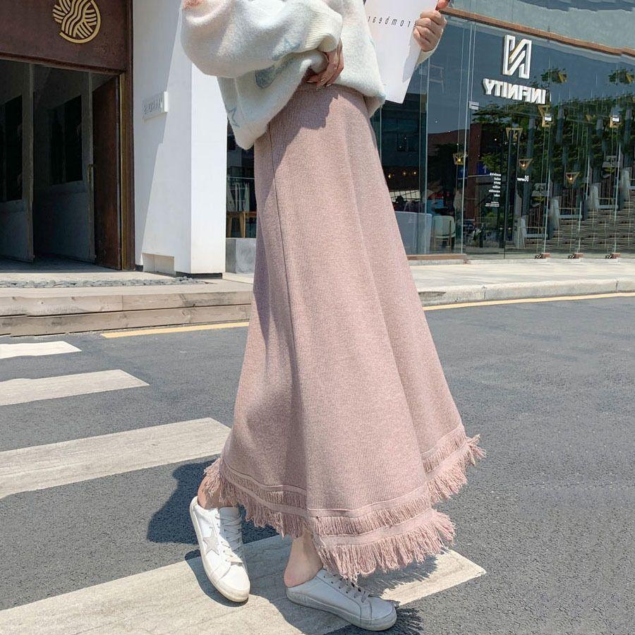 2020 nova malha estilo coreano meados de comprimento borla linha doce meados de comprimento A- A- linha de vestido de saia de lã saia 1TgfY