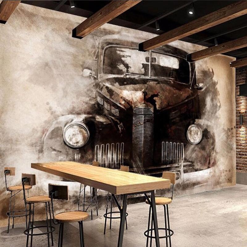 Özel 3D Duvar Resimleri Duvar kağıdı Retro Nostaljik Klasik Otomobil Duvar Çalışması Salon Yatak odası Backdrop Ev Dekorasyonu Papel De Parede