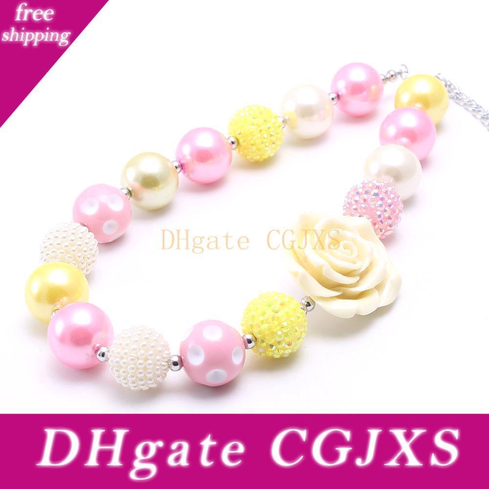 Monili all'ingrosso grande collana della Rosa borda il fiore Kid Chunky modo di DIY Bubblegum Bead collana robusta Giovani delle ragazze del bambino