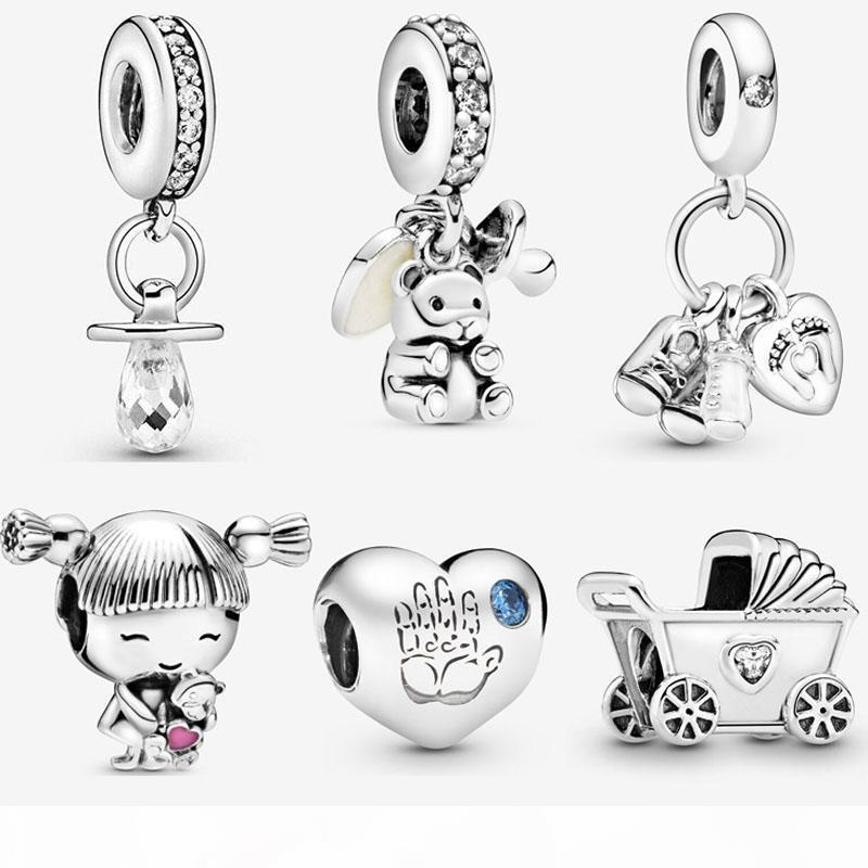 925 Sterling Silver Baby Girl Boy Handprint encanto pouco charme Fit Original Designer Charm Bracelet DIY Mulheres fazer jóias