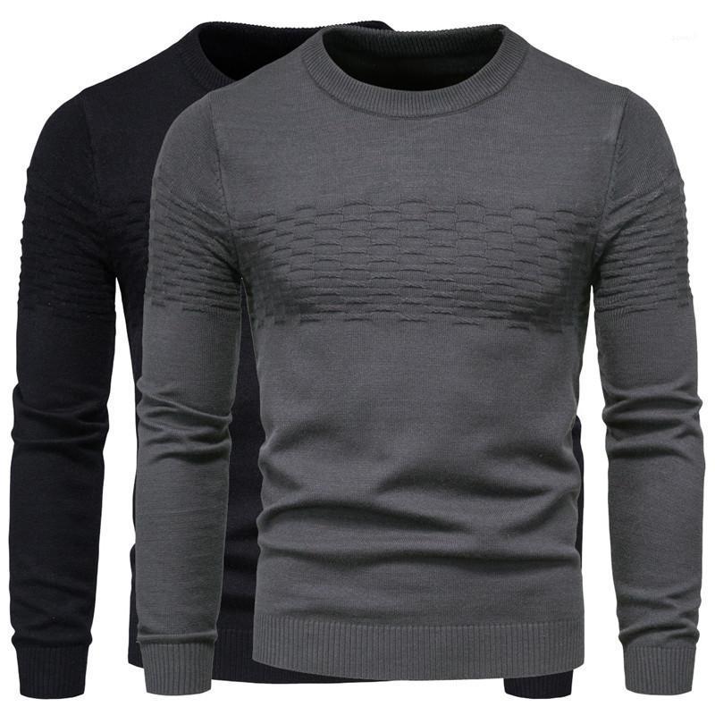 Color sólido a largo Crew manga del cuello del suéter con capucha manera ocasional diseñador para hombre Tejidos Hombre Ropa para hombre