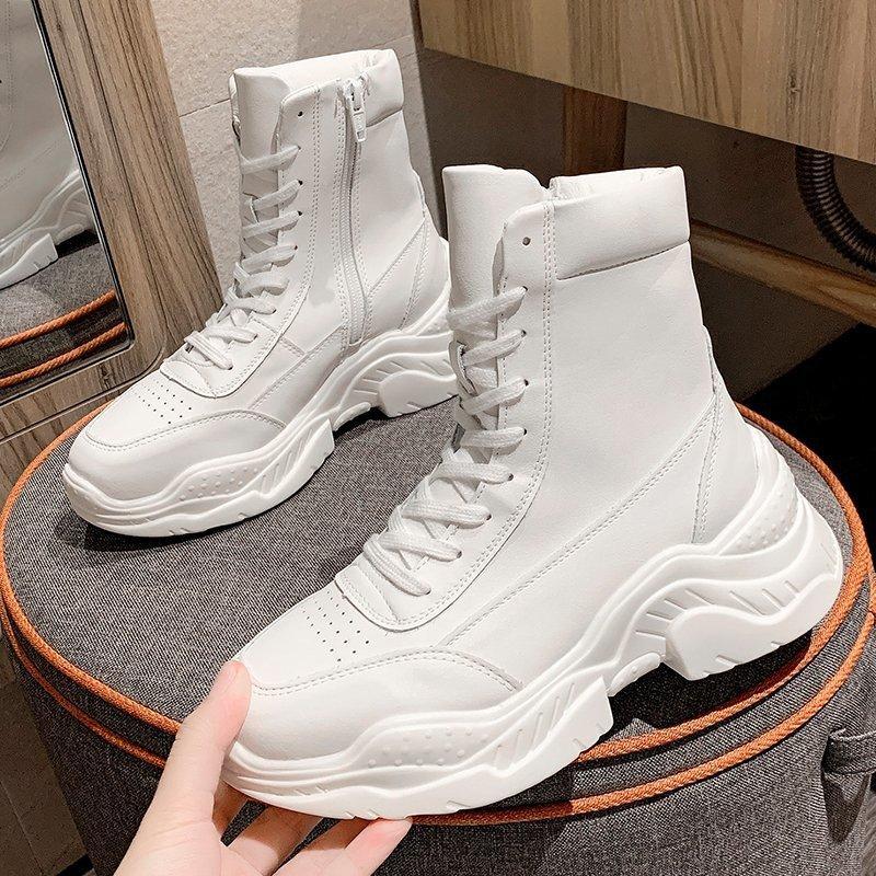 Di vendita calda delle donne di inverno stivaletti di marca di modo piattaforma stivali robusti donna scarpe di cuoio gladiatore Donna Bianco Nero