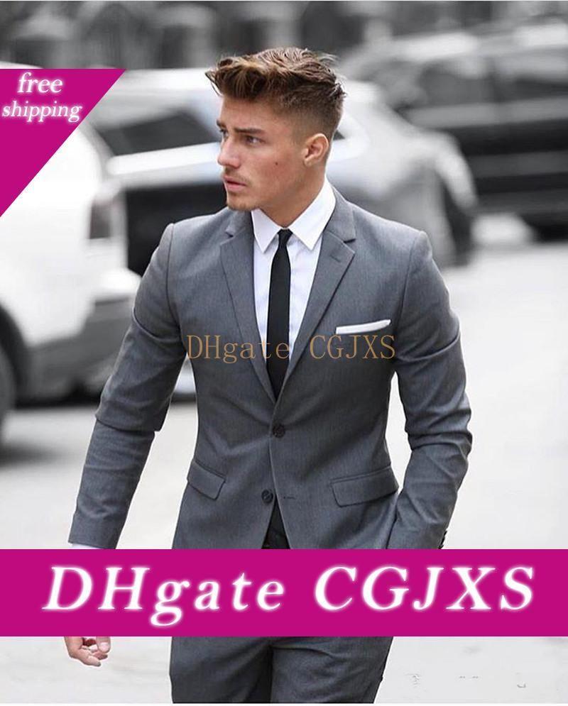 Nueva Excelente estilo del botón del novio esmoquin gris Dos muesca solapa padrinos de mejor juego del hombre para hombre Trajes de boda (chaqueta y pantalones TIE) 762