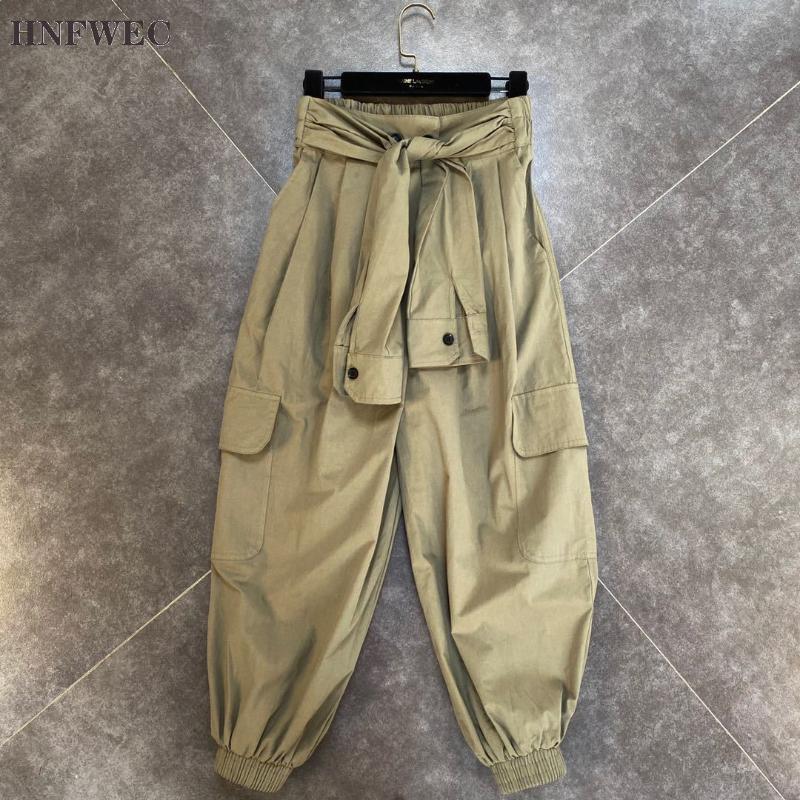 2020 Nova Moda Outono Patchwork Casual cor sólida Elastic cintura solta Lace-up Side Pocket calças compridas Mulheres K544