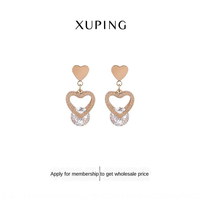 Xuping gioielli e ins coreano doppio strato di sabbia a forma di cuore orecchini di zircone Orecchini in acciaio al titanio TTM-E159