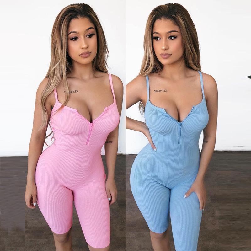 Бретели Обрезной Zipper V шеи Спорт Rompers Тонкий Женская одежда 2020 Летняя женская дизайнер Комбинезоны Sexy