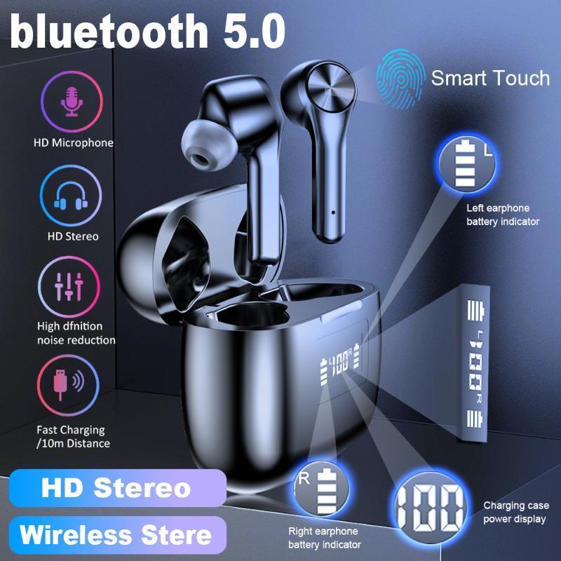 T9 sem fio fone de ouvido Bluetooth 5.0 fone de ouvido impermeável Sport Stereo HIFI LED de Alimentação Display Gaming Headset PK f9