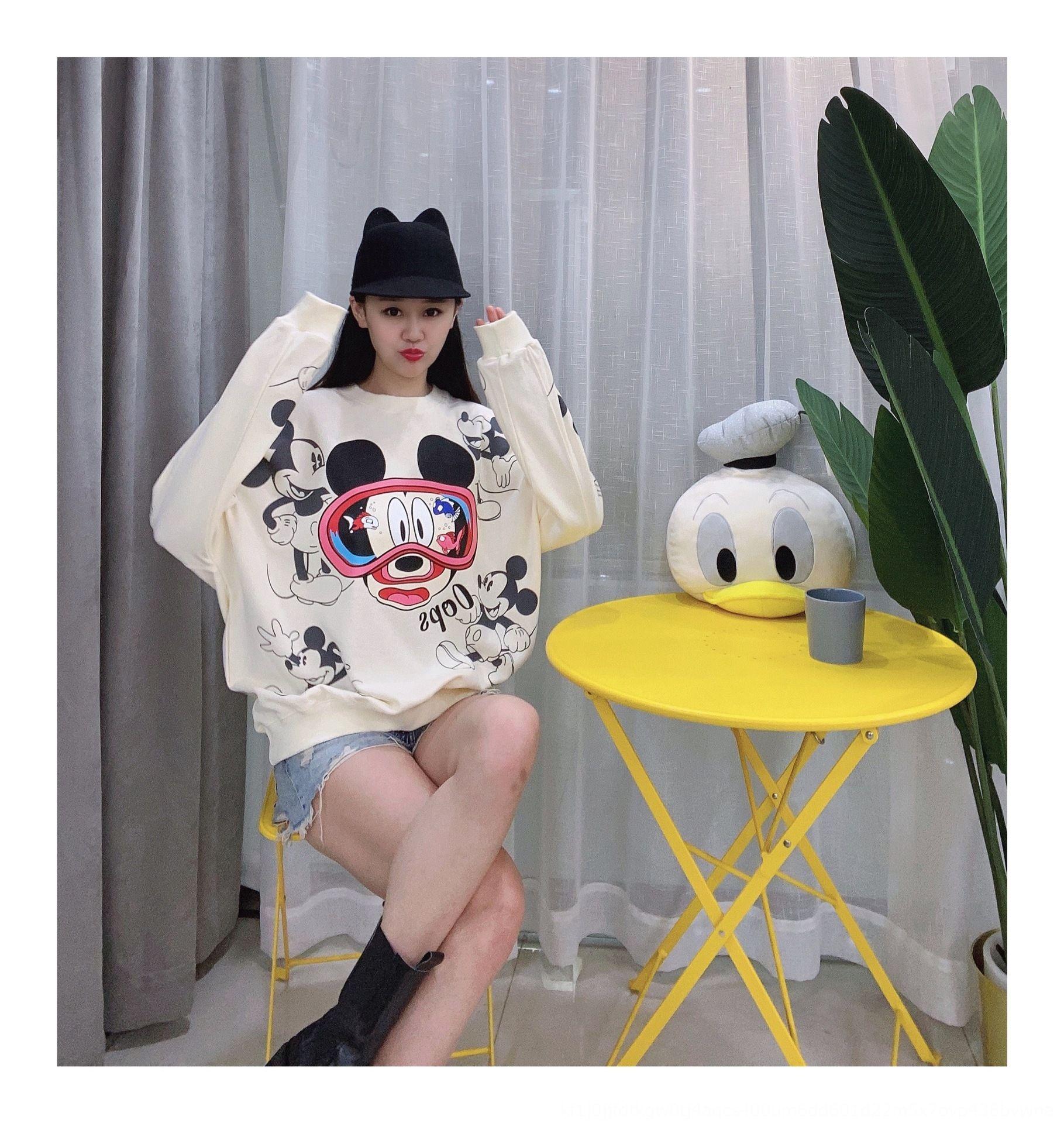 OvViD Frauen koreanische Art lose 2020 Herbst Pullover Top-Strickjacke Hülse langen Rundhals Pullover Karikatur Pullover Herbst neuen reinen Baumwollobers