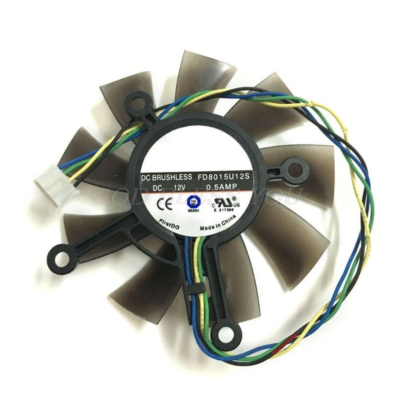 75MM FD8015U12S DC12V 0.5AMP 4PIN Fan cooler para Asus GTX 560 GTX550Ti HD7850 placa gráfica vídeo Ventoinhas Drop Shipping
