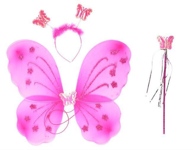 la performance Journée des enfants des accessoires vestimentaires spectacle costume, cheveux cerceau, bâton de fée, aile d'ange papillon monocouche trois pièces ensemble WL194