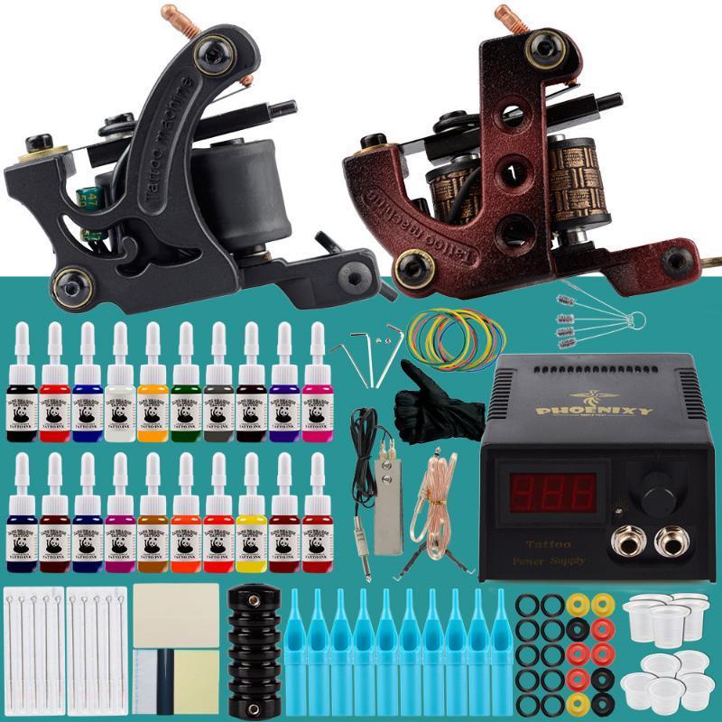 Kit de tatuaje profesional 2 máquinas Set de pistolas 20pcs Tintas permanentes Conjunto LCD Fuente de alimentación Publicidad Grips Cuerpo Arte Maquillaje Tatuaje completo