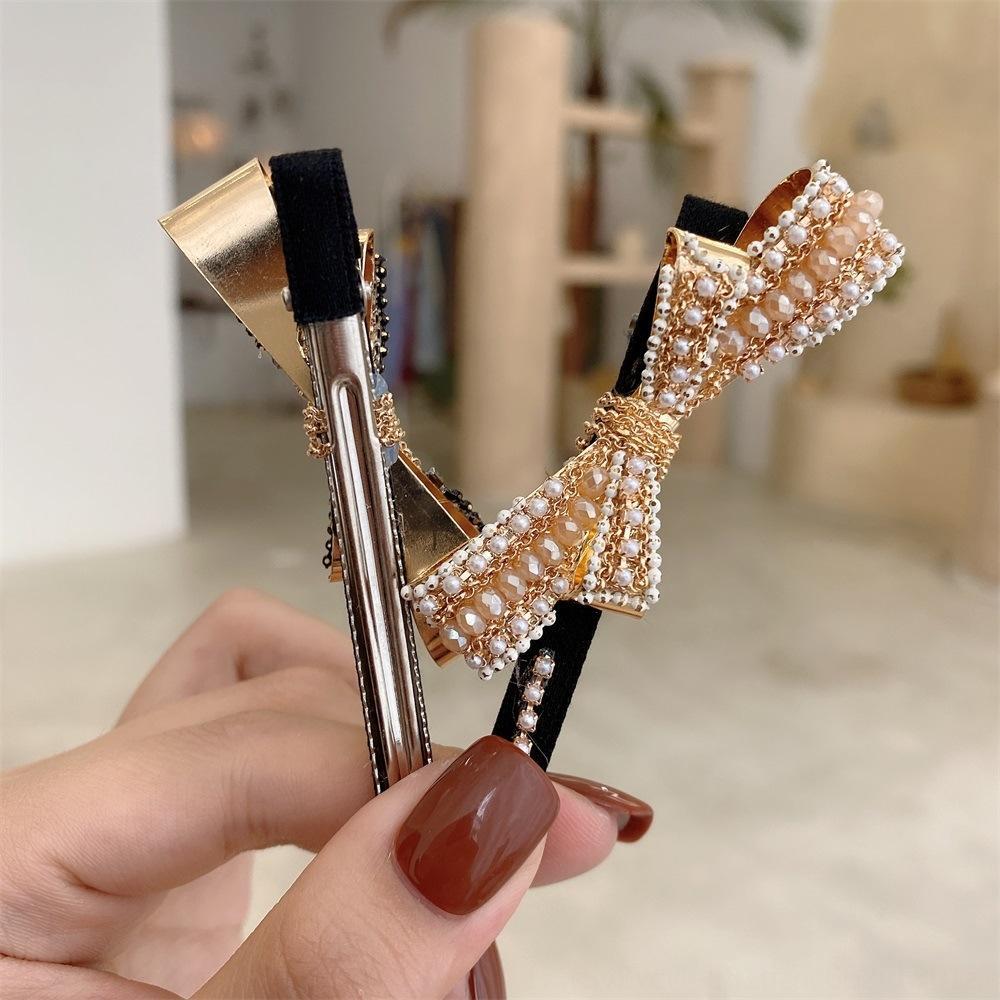 Perla de la mariposa de Corea ins perla tejida a mano accesorios para el cabello celebridad de Internet arco borde adultos horquilla horquilla clip de chica