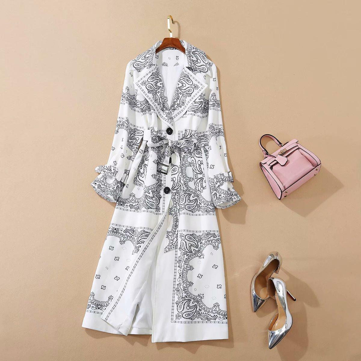 European and American women's clothing 2020 autumn new style Long-sleeved suit collar with fashionable print lace-up Trench coat