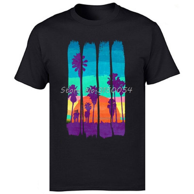 Vacanze magliette Scenario Brush Strokes Vintage Miami Beach Summer Sunset stampato maglietta degli uomini cotone Tshirt Tees Harajuku
