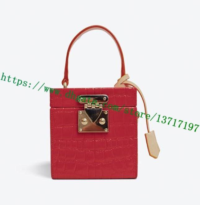 Top Grau Senhora Bag Flor Letra Em Grusted Patent Couro Bleecker Caixa Bolsa Mulheres M52464 Ombro Difícil Caso Cosmético Vermelho