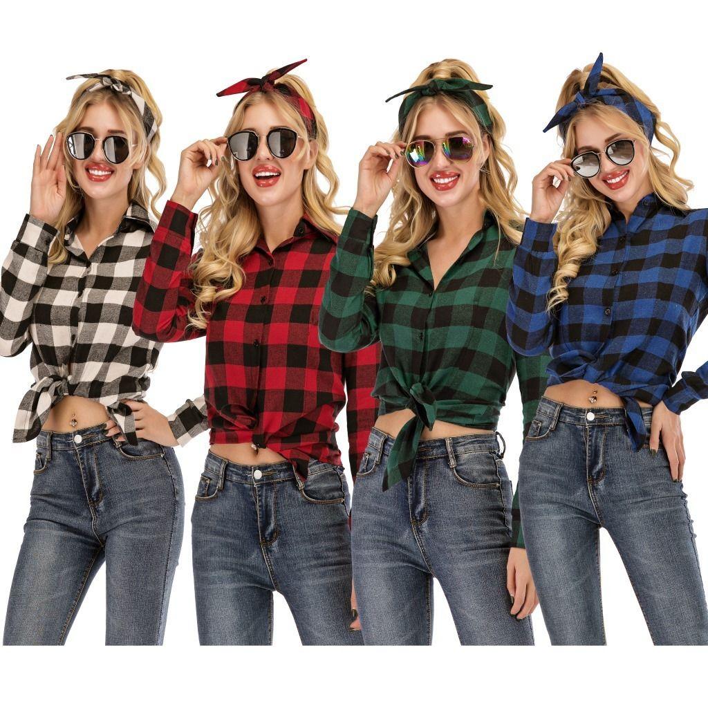 new women's casual yarn-dyed plaid long sleeve shirt JB2E