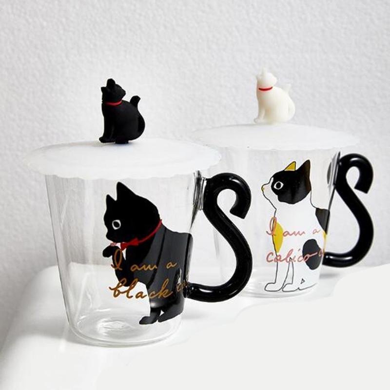 250 ml Cute Black Cat Glass Coffee Mug Set Handgrip Animal Shaped Milk Water Juice Mugs Cup Japanese Style Kawaii Gift Home