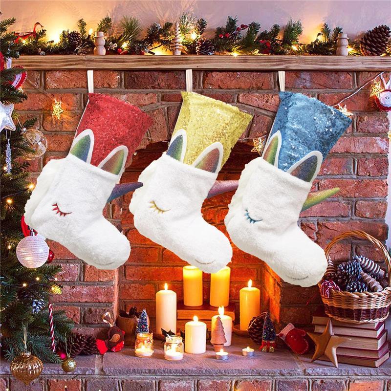 홈 장식 장식 조각 유니콘 지갑 토트 E9301 매달려 2020 크리스마스 양말 선물 가방 창고 모피 크리스마스 Decortive 양말 크리스마스 트리
