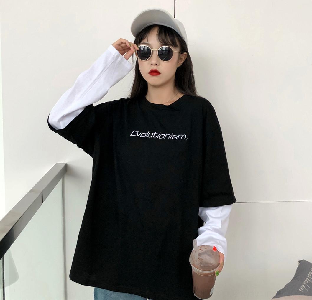 FJtKy 2020 Automne NewStyle mode de style coréen lettre brodée impression ins en vrac mince Sous-vêtement brodé pull pull pour WOM