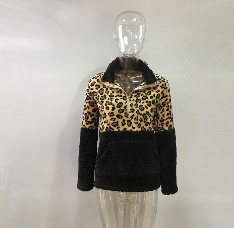venta caliente 2019 otoño e invierno la tapa del suéter nuevo jersey de manga larga con estampado de leopardo costuras sobrepuestas