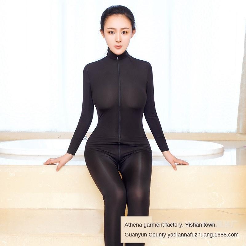 dupla de cabeça zipper longo Ice Silk swimsuit elástica Swimsuit Roupa interior pano manga sexy macacão AZPe2 Y5D9p roupa interior sexy das mulheres