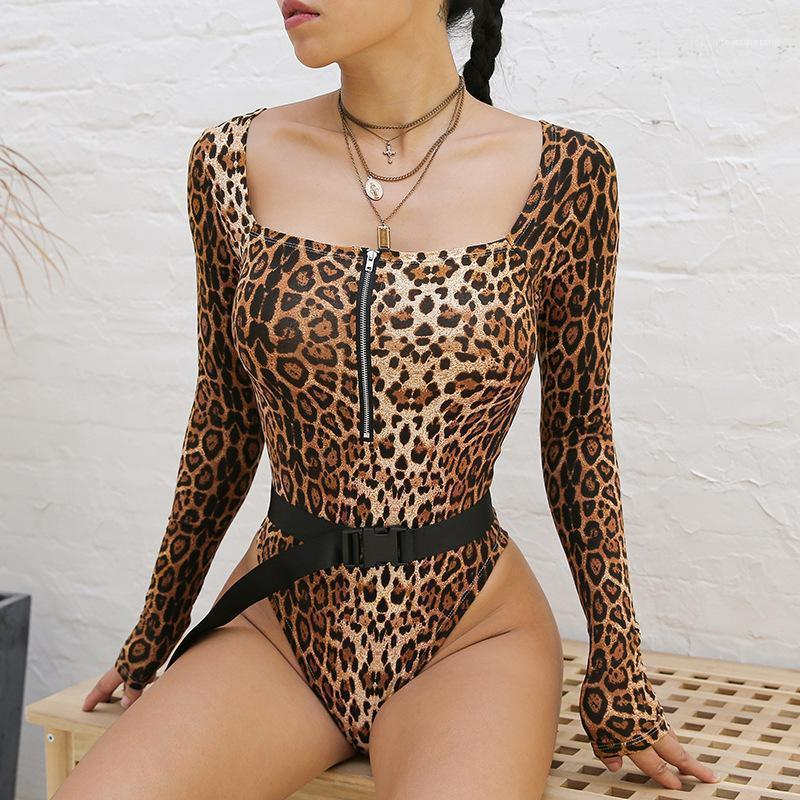 Yaz Leopar Bikini Uzun Kollu Fermuar Seksi Kare Yaka Kadın Giyim Kadın Giyim