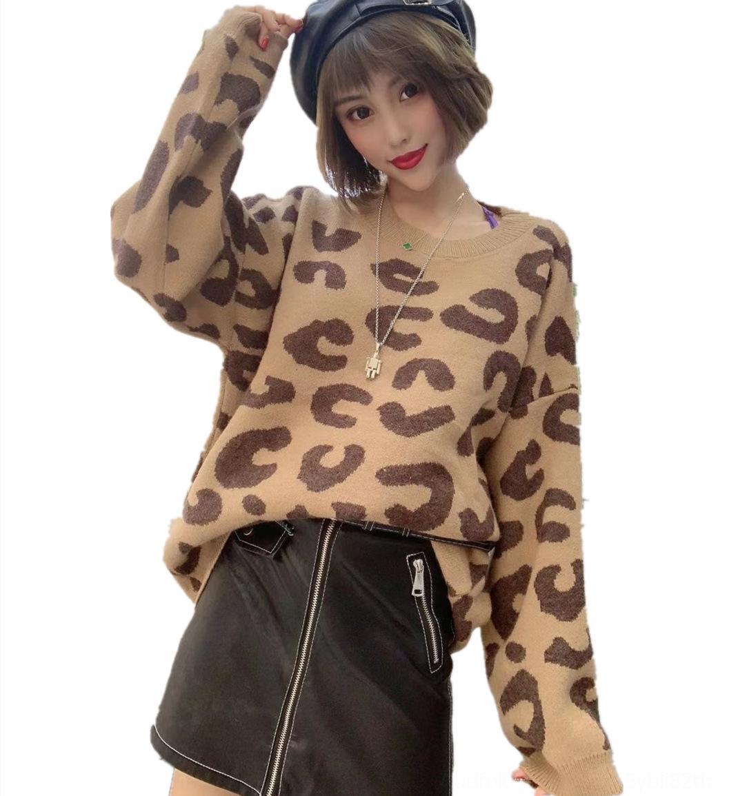 xLJCl hJCop 2020 Herbst und der Hülse koreanischen Stil neue Wintermode Leopardendruck faul für Mantel lange lose Mantel-Stil Frauen Pullover Pullover sw