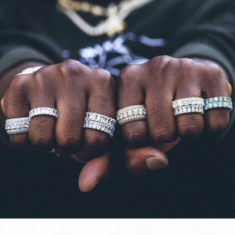 الهيب هوب خمر مجوهرات فريدة من نوعها 18K الذهب الأبيض التعبئة 5 صفوف 5A مكعب الزركون عالية الجودة دائرة المرأة الزفاف الاشتباك باند الطوق هدية