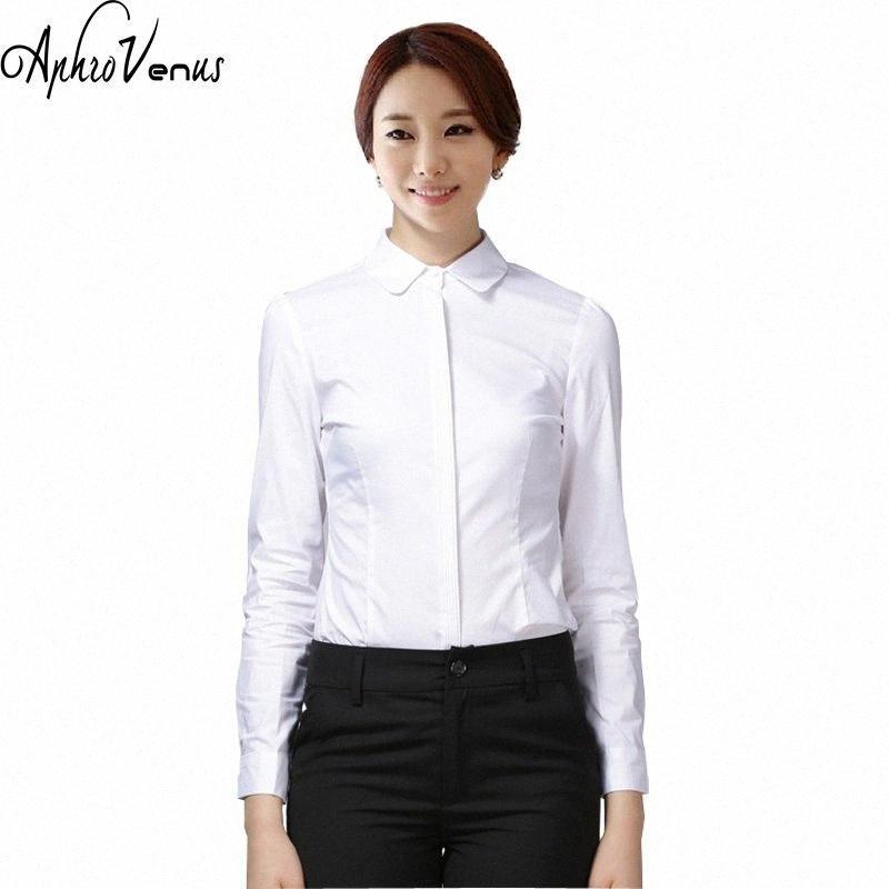 Блузы Весна новых женщин хлопок рубашка с длинным рукавом женщина Blusas Tops Твердой Casual Женского Офис белых рубашек Camisas Mujer nens #