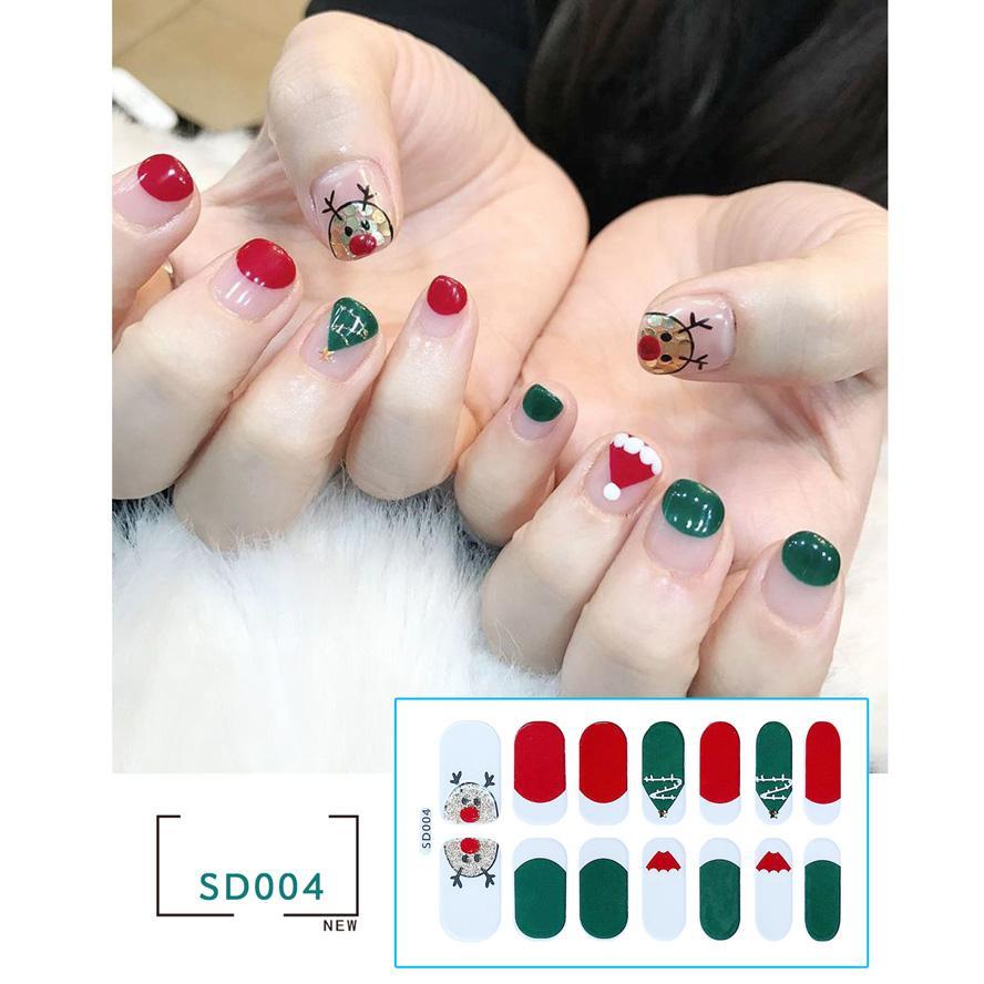 Елочные украшения 2020 интересно 14 трансграничные внешняя торговля Рождества ногтей насыщаться наклейки наклейки ногтей искусства аксессуаров