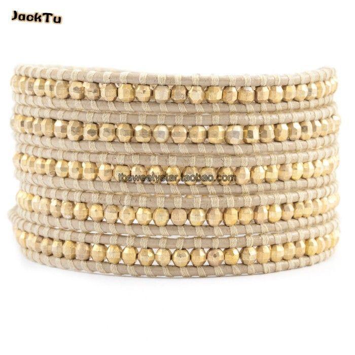 rame laser oro perline braccialetto dell'involucro su cuoio pelle
