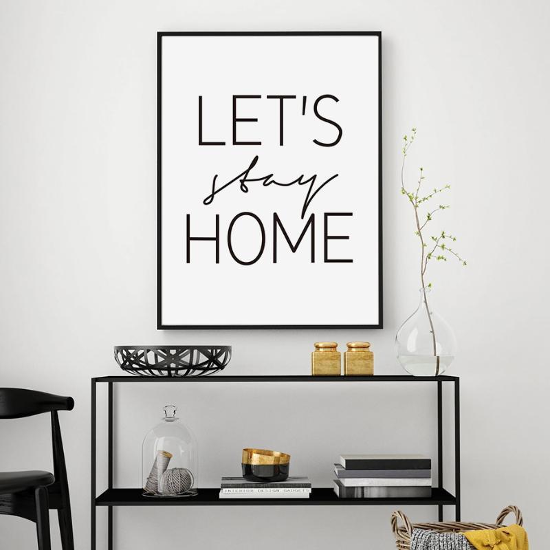 Minimalist Lassen Sie sich zu Hause bleibt Schwarzweiss-Leinwand-Malerei Scandinavian Plakat-Druck-Wand-Kunst Bilder für Kinderzimmer Home Decor