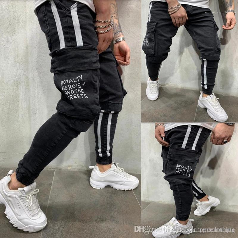 İnce Orta Bel Erkek Pantolon Çizgili Erkekler Jeans BLACKE Stretch Uzun Erkekler Kalem Pantolon