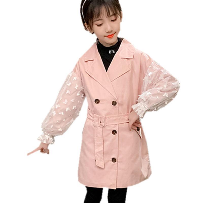 Vêtements d'extérieur élégant manches en maille enfants Manteaux pour les filles ados Trench Casual manteau de la veste pour les filles Enfants Rose Kaki Couleur Outfit