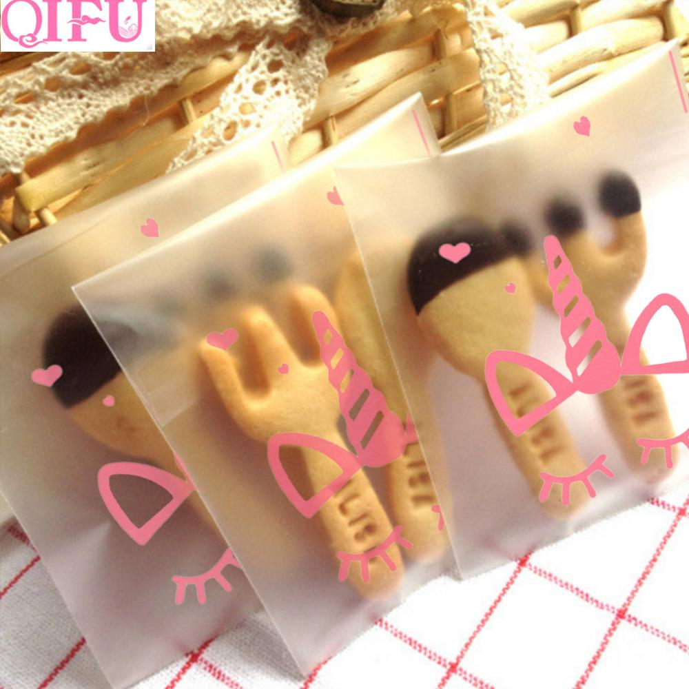 Qifu 100pcs plastica trasparente cellophane Candy Cookie regalo Unicorn sacchetto del pacchetto per DIY Biscotti Snack cottura compleanno di cerimonia nuziale