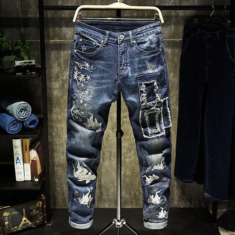 Il ricamo e jeans di patch del foro dei jeans autoadesivo del corpo sottile cerotto fit elastici pantaloni dritti alla moda ricamati pantaloni GjGlY