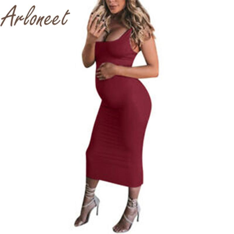 ARLONEET Clothes women maternity dresses Strap Sleeveless dress Summer Fashion Party ladies pregnancy clothes Casual dress