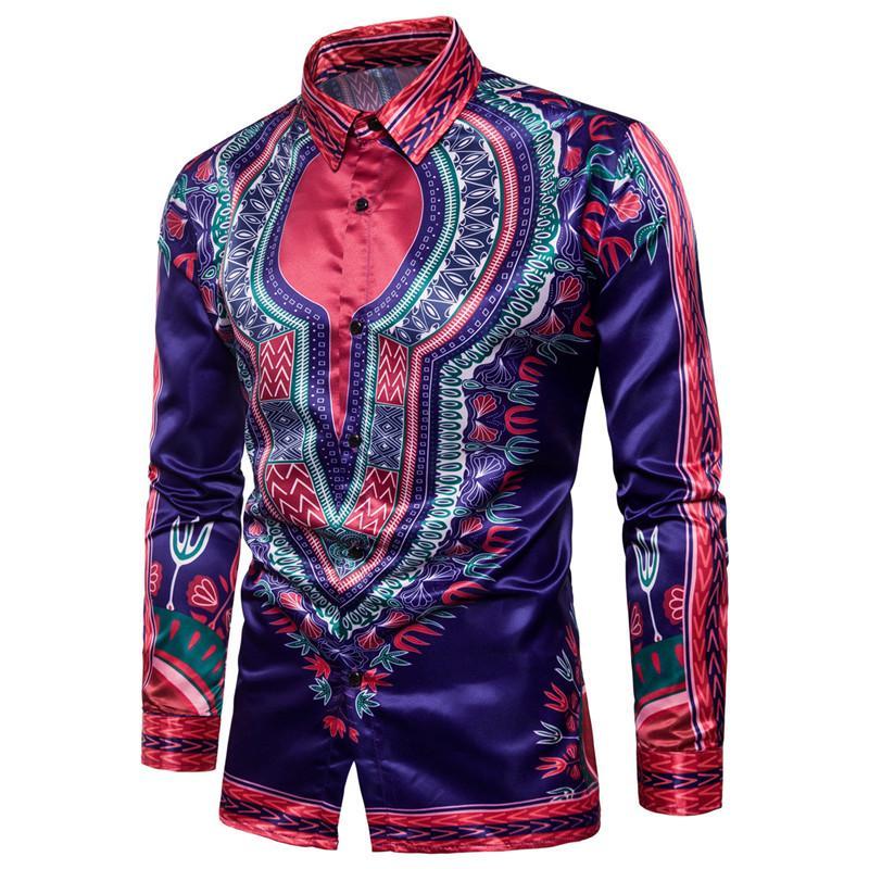 패션 아프리카 다시 키 프린트 셔츠 남성 2020 새로운 브랜드 긴 소매 남성 드레스 셔츠 전통적인 아프리카 의류 슈 옴므