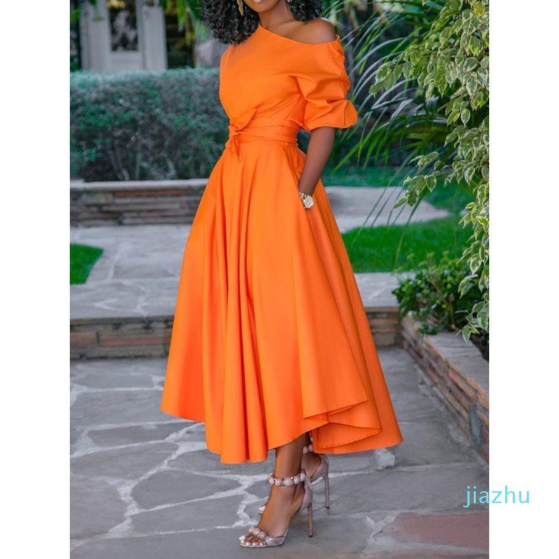 Горячие продажи 2019 вскользь длиннее платье лета женщин одно плечо Sexy Fashion Street Путешествия высокой талией Robe Дамы Большой свинг Элегантный Платья